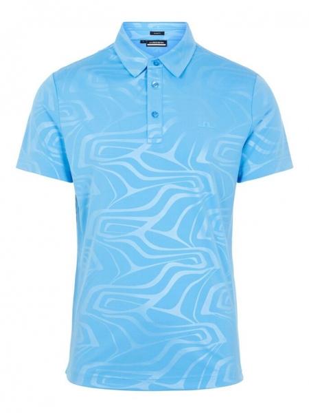 J.Lindeberg Herren Tony Slim Fit Golf Print Poloshirt GMJT03920 ocean blue