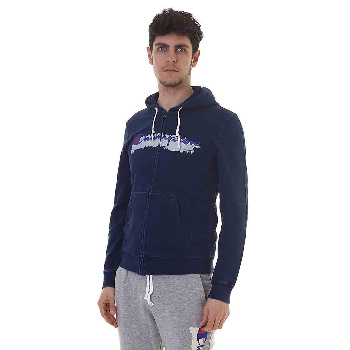 Champion Herren Sweatjacke Hooded Full Zip blau