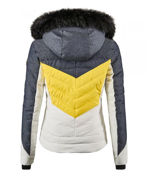 Killtec Damen Atka Skijacke in Daunenoptik mit abzippbarer Kapuze und Schneefang 35686 denim gelb