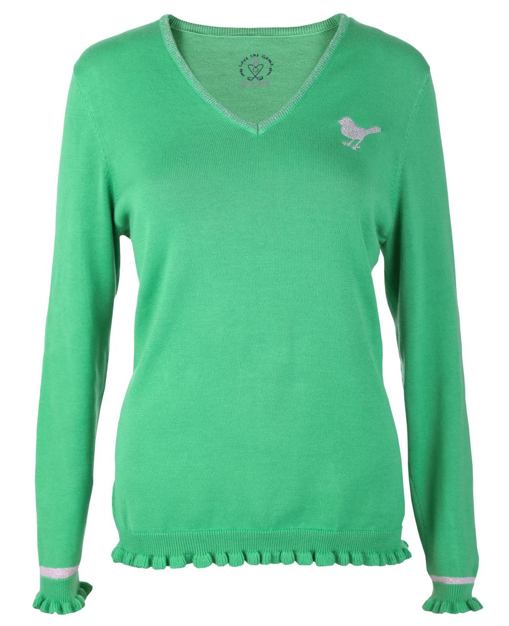 girls golf Damen V-neck ruffle knitted sweater basic RUFFLE 14932 grün