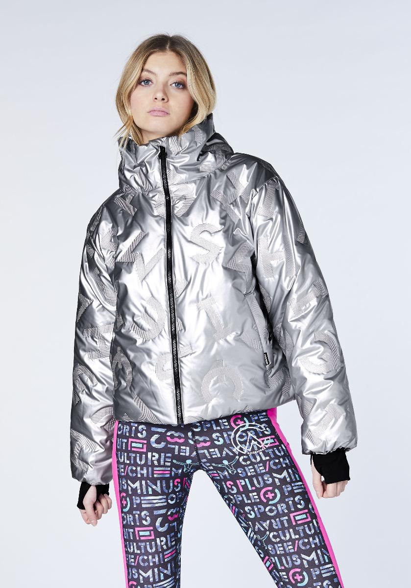 Chiemsee Damen NANDE DEVI Wattierte Jacke Outdoor im Metallic-Look 12203306 silber