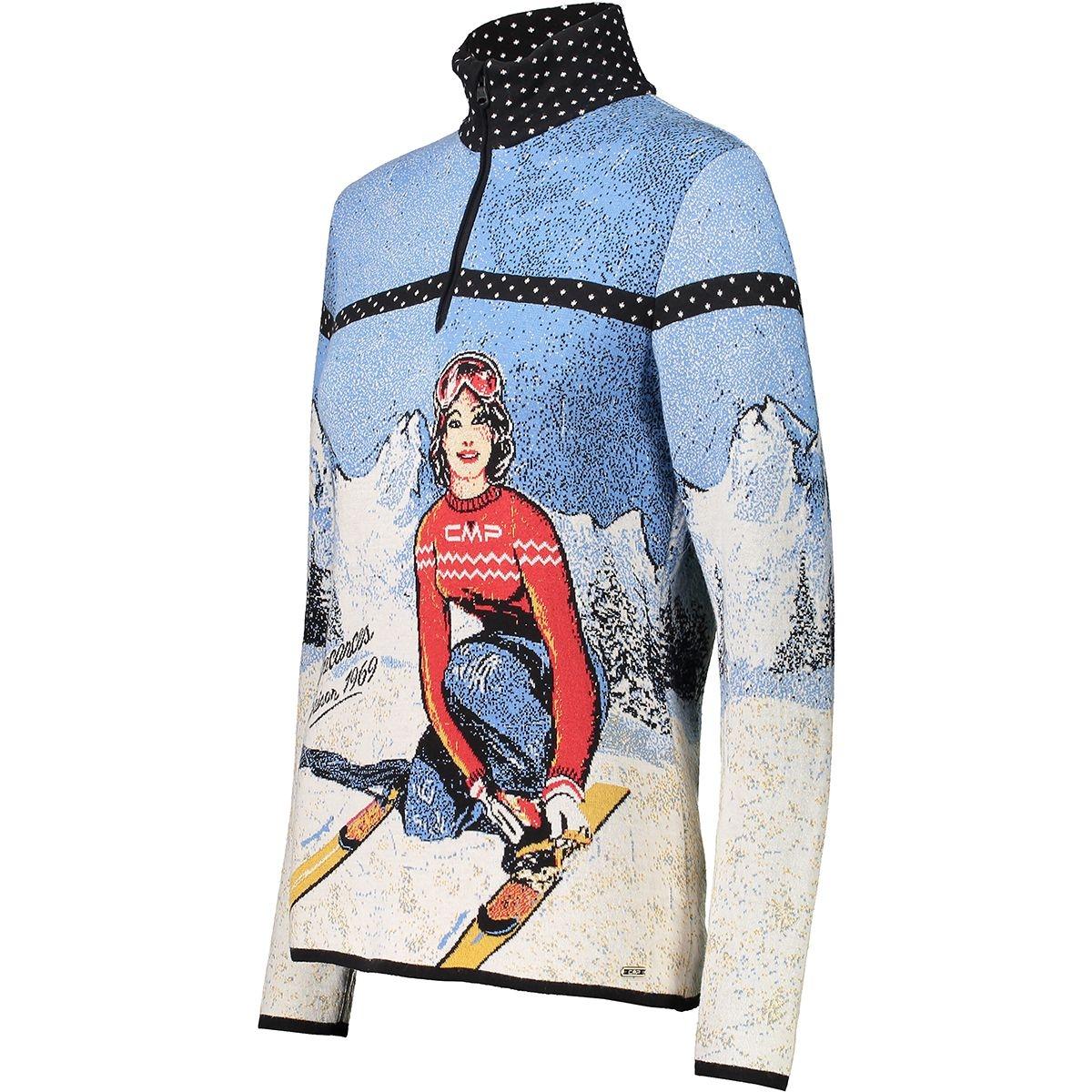 CMP Damen Knitted Print Pullover 7H96930 blau-weiß-rot