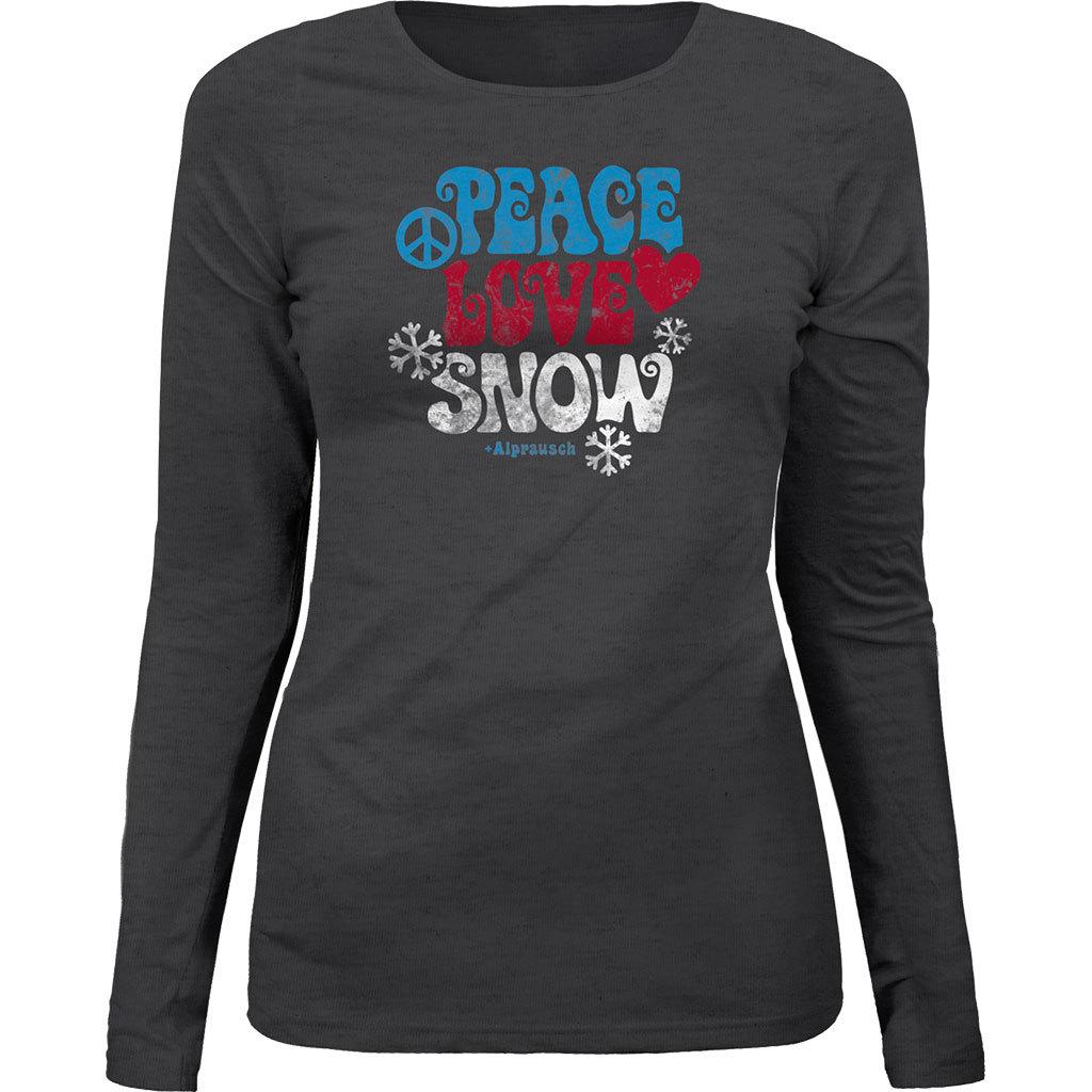 Alprausch Damen Longsleeve Peace Love Snow Shirt dunkelgrau