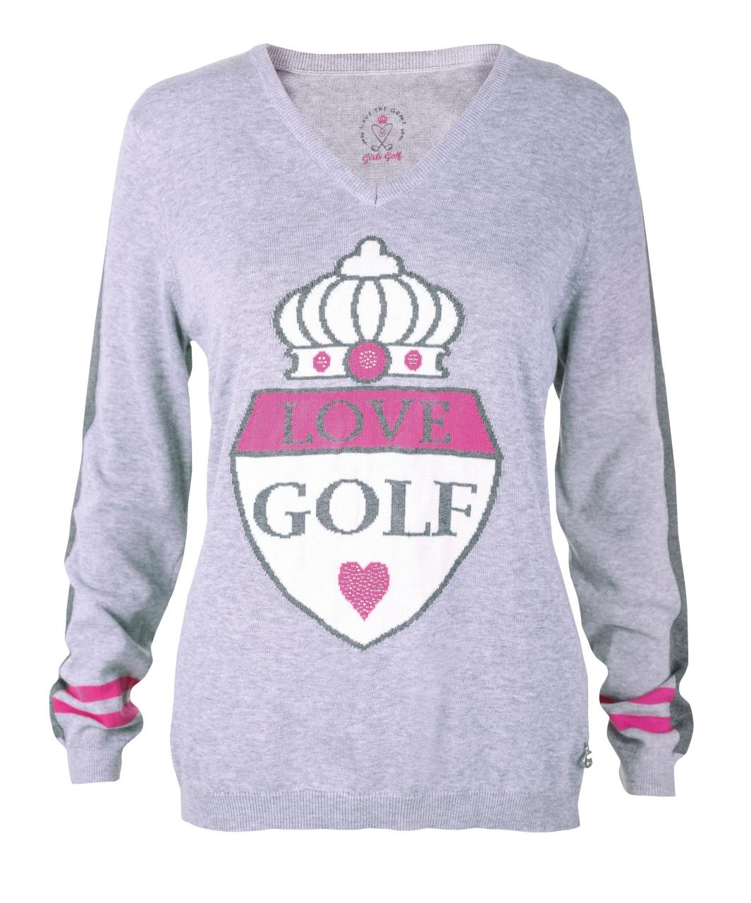 girls golf Damen V-neck knitted golf sweater GIANT CREST 19922 grau