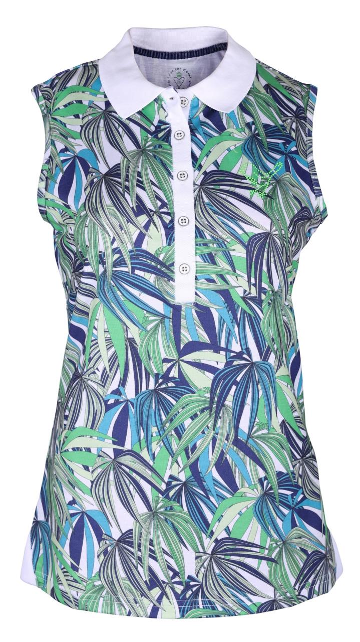 girls golf Damen Polo sleeveless exotic 14122 jungle allover