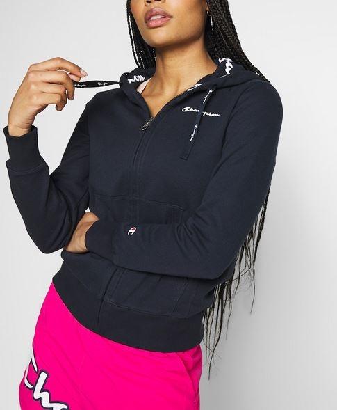 Champion Damen Hodded Full Zip Sweatshirt 112584 dunkelblau