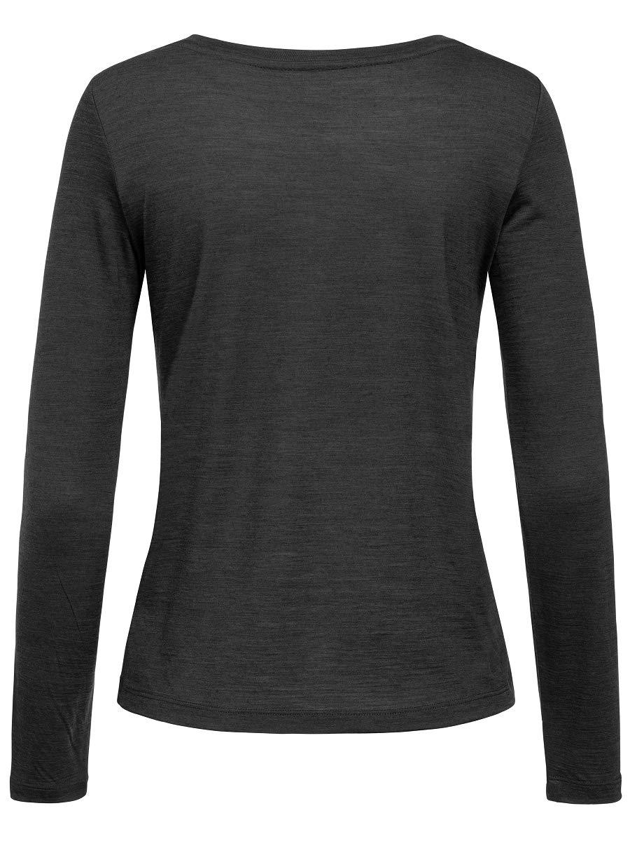 super.natuarl Da. Essential Scoop Langarm Shirt SNW011280 Jet black melange