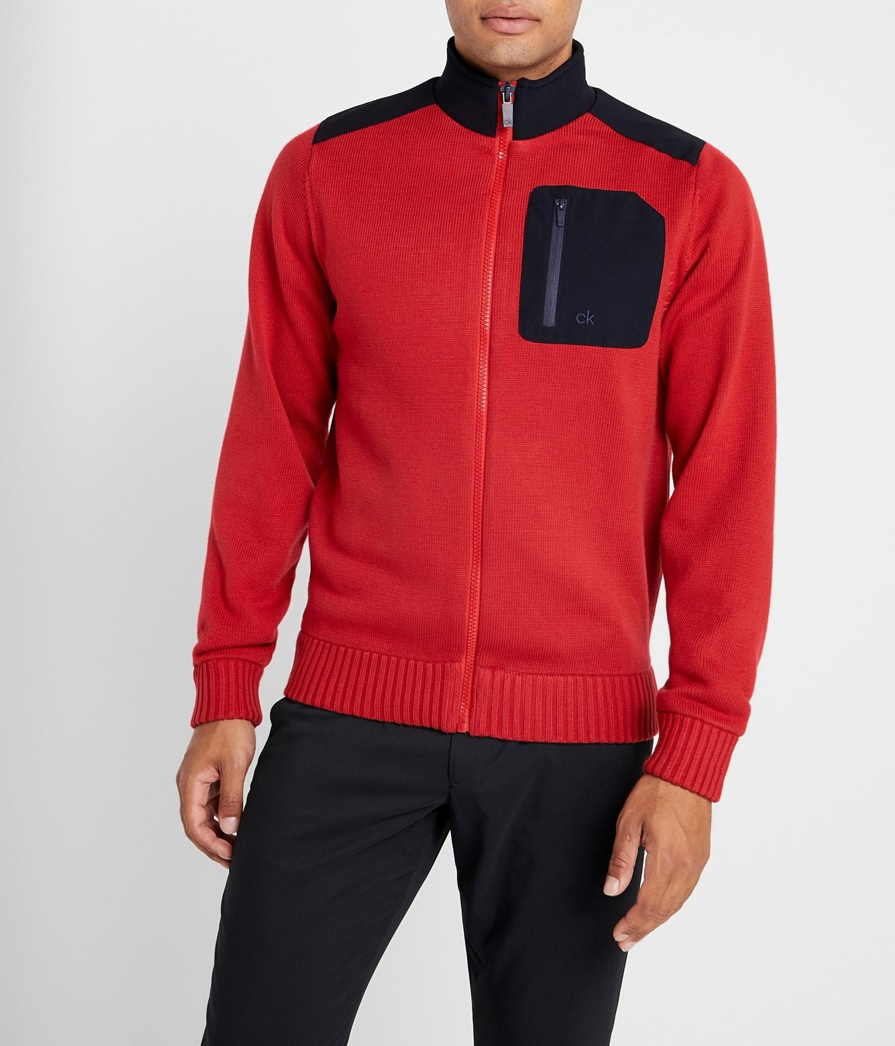 Calvin Klein Hr. Golf Strickjacke Lined Sweater CKMA19308 rot