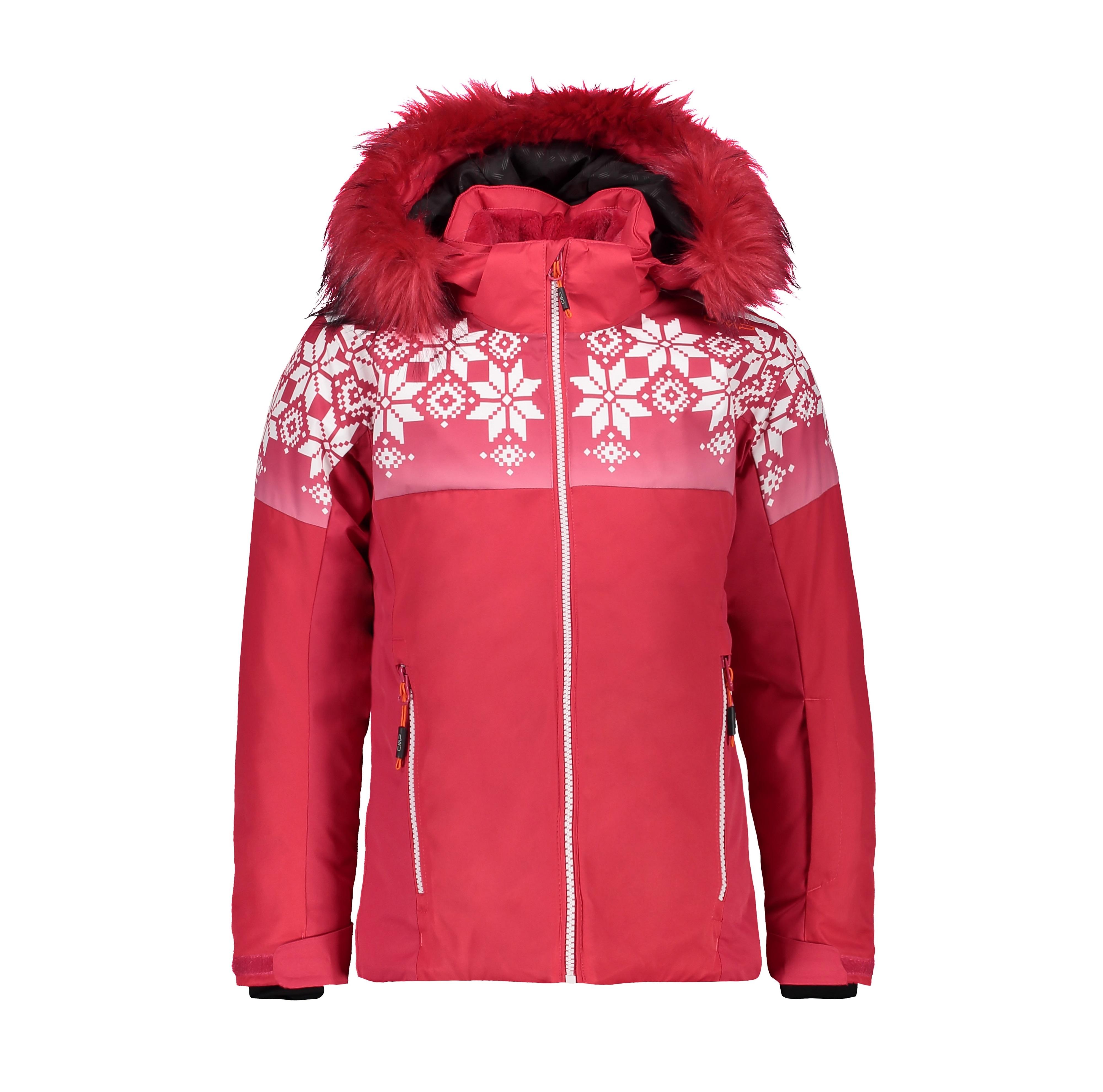 CMP Mädchen Skijacke mit Kunstpelz 39W2075F rot