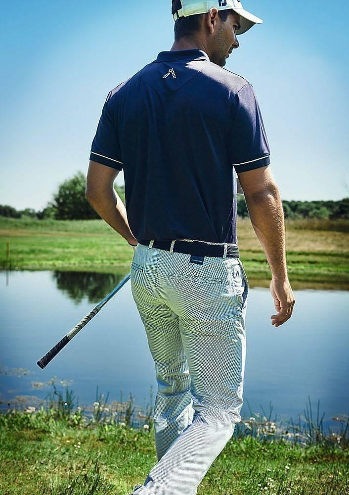 ALBERTO Golf Herren Stretchhose WR Print slim fit ROOKIE weiß-blau gemustert