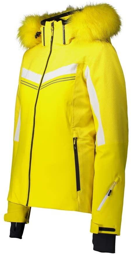CMP Damen Skijacke mit Kapuze und Kunstpelz 30W0566 gelb